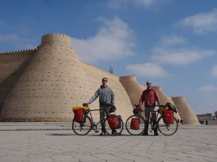 Leaving Bukhara, we pedaled by the Ark, or central fortress, stopping for our photo op close to the spot the scheming Stoddard and Connolly were executed by the Emir a century and a half ago.