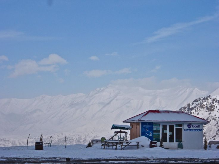 The loneliest little cell phone store in the Tien Shan.