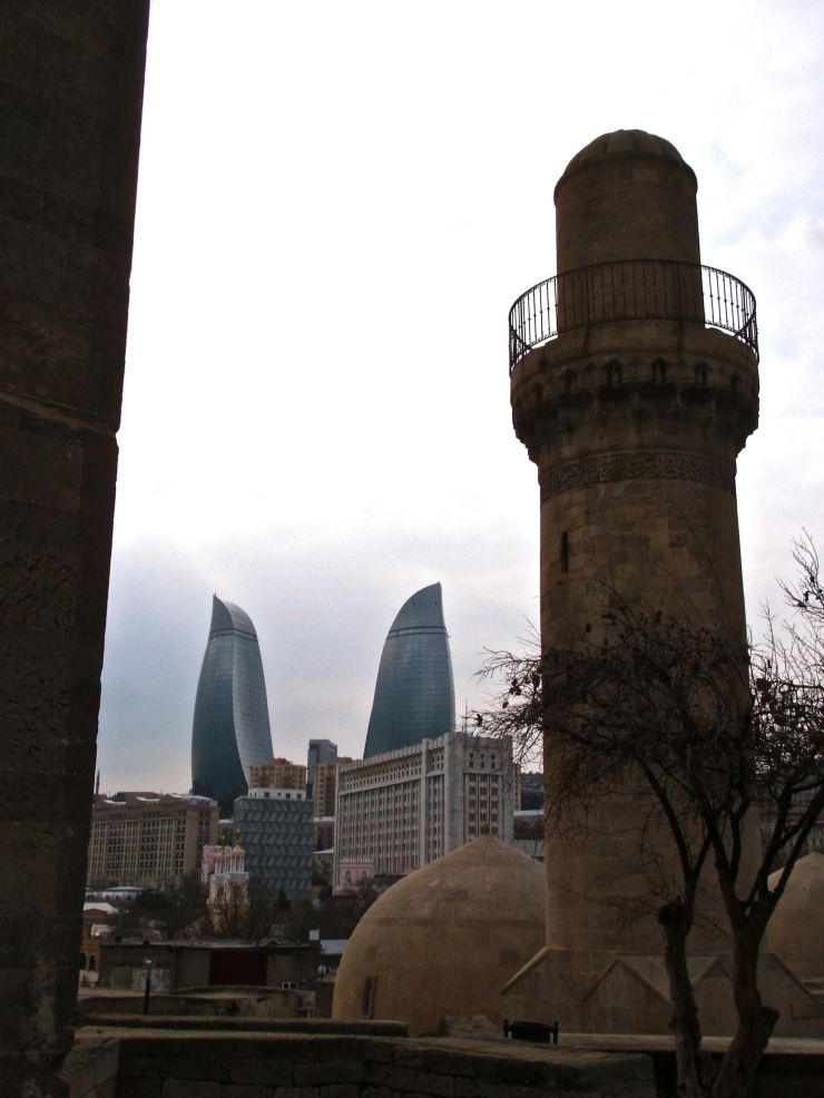 The (phallic) contrasts of Baku city.  Oil money has remade the city half a dozen times over the last century and a half, leaving strange contrasts.