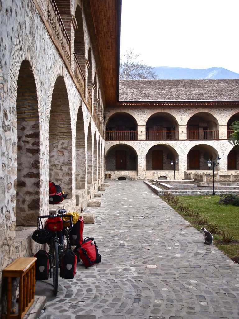 Leaving Tbilisi, we raced north and east, eager to be in the mountains again. After tracing the foothills of the Caucasus into Azerbaijan, we stopped for a much needed rest at the restored caravansarai in Seki.